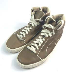 MCQUEEN PUMA CLIMB II MID BROWN LEATHER SNEAKERS 8